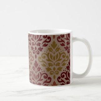 Scroll Damask Lg Ptn Reds Orange Gold Taupe Coffee Mug