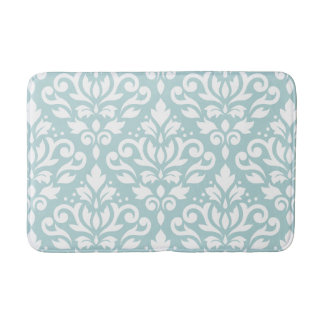 Scroll Damask Lg Ptn White on Duck Egg Blue (B) Bath Mat