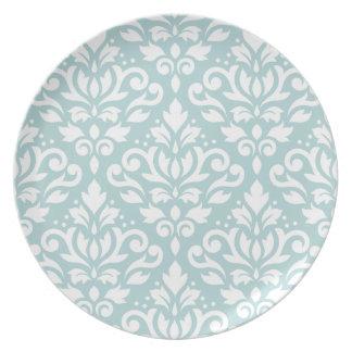 Scroll Damask Lg Ptn White on Duck Egg Blue (B) Dinner Plate