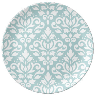Scroll Damask Lg Ptn White on Duck Egg Blue (B) Porcelain Plates