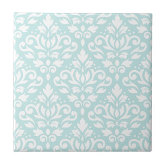 Scroll Damask Lg Ptn White on Duck Egg Blue Small Square Tile