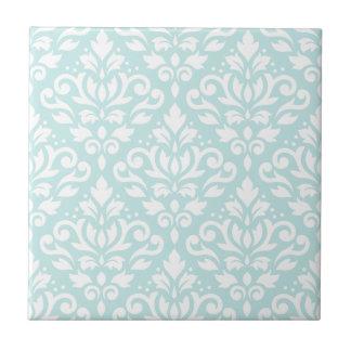 Scroll Damask Lg Ptn White on Duck Egg Blue Tile