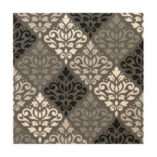 Scroll Damask Off-Set Ptn BW & Greys Wood Canvases