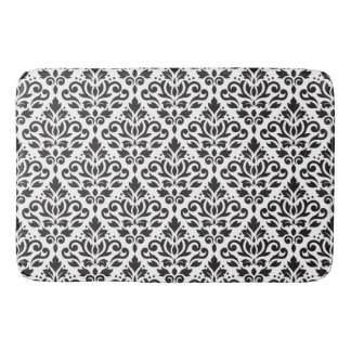 Scroll Damask Pattern Black on White Bath Mat