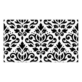 Scroll Damask Pattern Black on White Business Cards