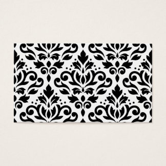 Scroll Damask Pattern Black on White Business Card