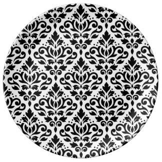 Scroll Damask Pattern Black on White Plate