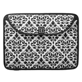 Scroll Damask Pattern Black on White Sleeve For MacBooks