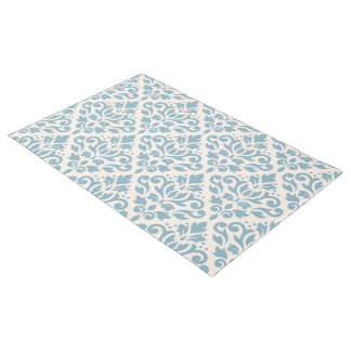Scroll Damask Pattern Blue on Cream Doormat