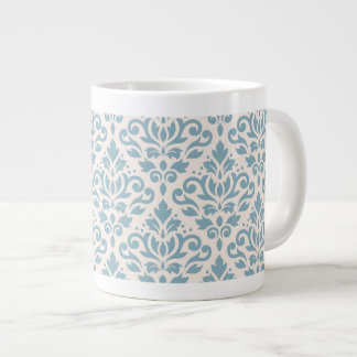 Scroll Damask Pattern Blue on Cream Large Coffee Mug