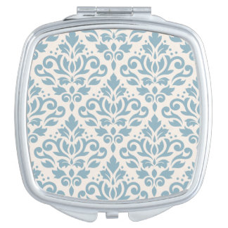 Scroll Damask Pattern Blue on Cream Makeup Mirror