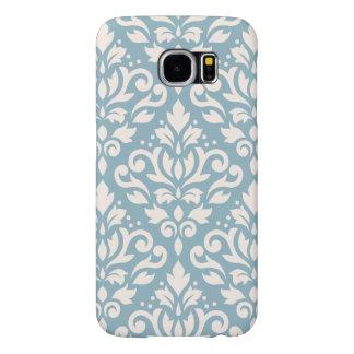 Scroll Damask Pattern Cream on Blue Samsung Galaxy S6 Cases