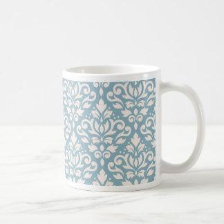 Scroll Damask Pattern Cream on Blue Coffee Mug