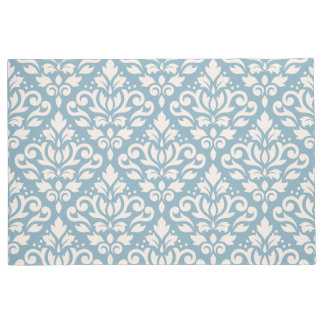 Scroll Damask Pattern Cream on Blue Doormat