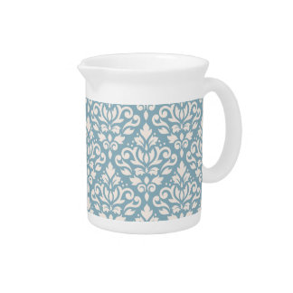 Scroll Damask Pattern Cream on Blue Drink Pitcher