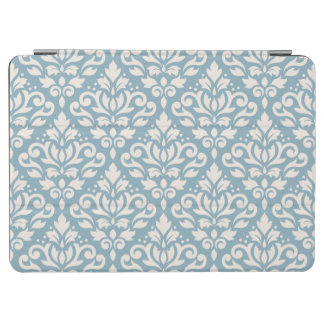 Scroll Damask Pattern Cream on Blue iPad Air Cover
