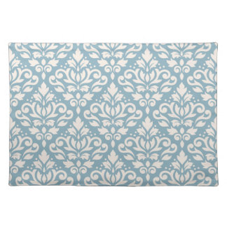 Scroll Damask Pattern Cream on Blue Placemat