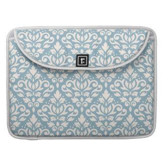 Scroll Damask Pattern Cream on Blue Sleeve For MacBooks