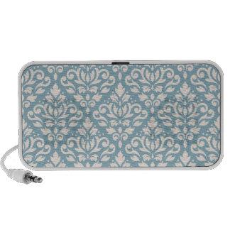 Scroll Damask Pattern Cream on Blue Portable Speakers