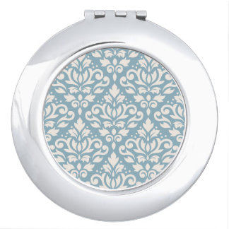 Scroll Damask Pattern Cream on Blue Travel Mirrors