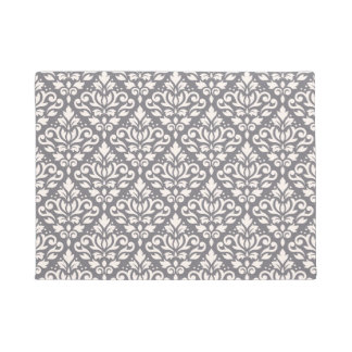 Scroll Damask Pattern Cream on Grey Doormat