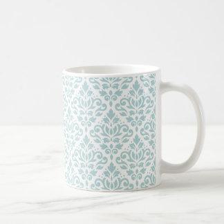 Scroll Damask Pattern Duck Egg Blue (B) on White Coffee Mug