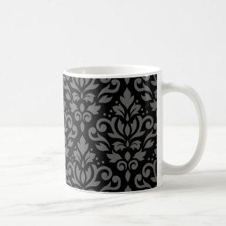 Scroll Damask Pattern Grey on Black Coffee Mug