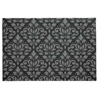 Scroll Damask Pattern Grey on Black Doormat