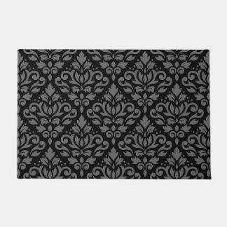 Scroll Damask Pattern Grey on Black Doormat
