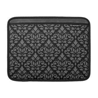 Scroll Damask Pattern Grey on Black Sleeve For MacBook Air