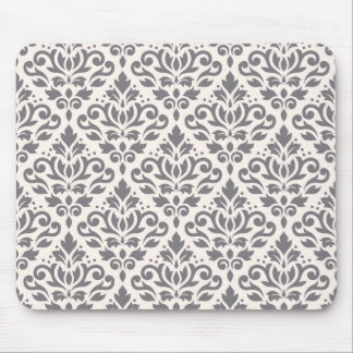 Scroll Damask Pattern Grey on Cream Mouse Mat
