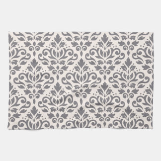 Scroll Damask Pattern Grey on Cream Tea Towel