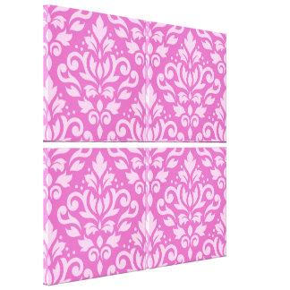 Scroll Damask Pattern Light on Dark Pink Canvas Print