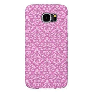 Scroll Damask Pattern Light on Dark Pink Samsung Galaxy S6 Cases