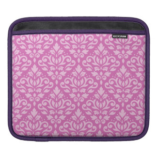 Scroll Damask Pattern Light on Dark Pink iPad Sleeve