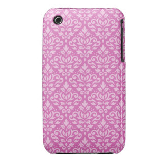 Scroll Damask Pattern Light on Dark Pink iPhone 3 Covers