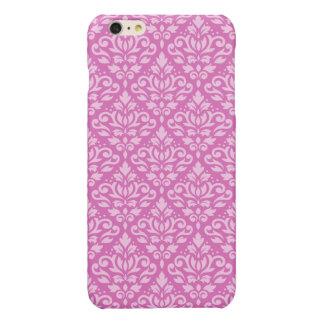 Scroll Damask Pattern Light on Dark Pink iPhone 6 Plus Case