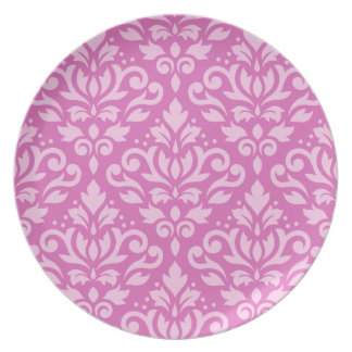 Scroll Damask Pattern Light on Dark Pink Plate