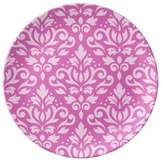 Scroll Damask Pattern Light on Dark Pink Porcelain Plate