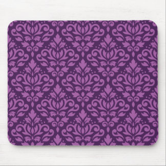 Scroll Damask Pattern Light on Dark Plum Mouse Pad