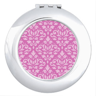 Scroll Damask Pattern Light on Dk Pink Makeup Mirror