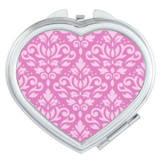 Scroll Damask Pattern Light on Dk Pink Vanity Mirror