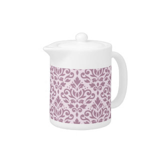 Scroll Damask Pattern Mauve on Pink