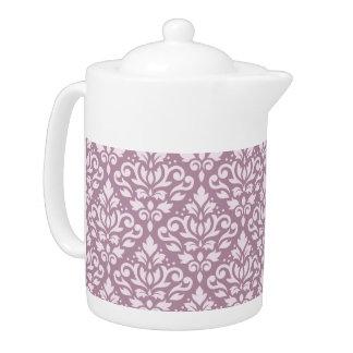 Scroll Damask Pattern Pink on Mauve