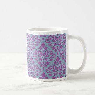 Scroll Damask Pattern Plum on Blue Coffee Mug