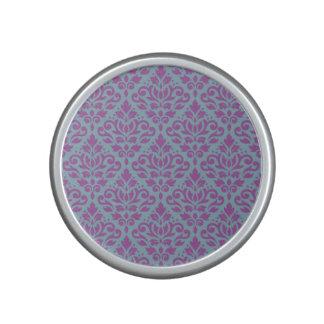 Scroll Damask Pattern Plum on Blue Bluetooth Speaker