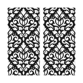 Scroll Damask Pattern White on Black Canvas Print
