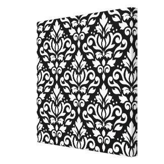 Scroll Damask Pattern White on Black Canvas Print
