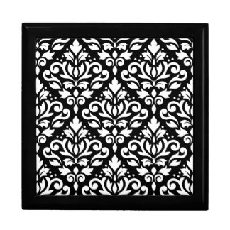 Scroll Damask Pattern White on Black Gift Box
