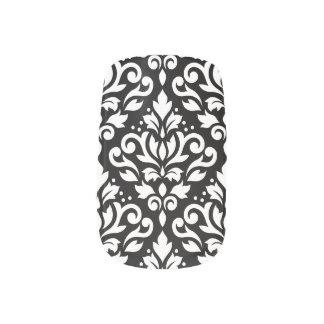 Scroll Damask Pattern White on Black Minx Nail Art
